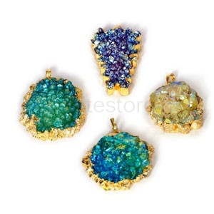 Agate Pendant Natural Druzy Agate with Gold Bezel One Hooks Set of 3 Mixed Shape Mixed